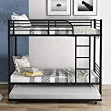 CASSY Twin-Over-Twin Metal Bunk Bed with Trundle,Can be Divided into Two beds,No Box Spring Needed,Black