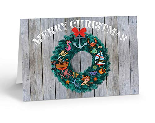 Nautical Wreath Christmas Card - 18 Boxed Boating Cards and Envelopes (Standard)
