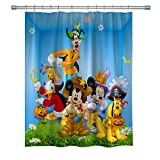 GOODCARE Mickey Mouse and Donald Duck Shower Curtain, Minnie Mouse Goofy Pluto Mickey Mouse Clubhouse 12 Free Hooks, Polyester Fabric, 71 x 71 inches