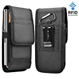 Takfox Phone Holster for Samsung Galaxy S20 Ultra S20 Plus S10+ S9 S8 S7 J7 J3, A01 A11 A21 A51 A71 A10e A20 A30 A50, K51 Stylo 6, Nylon Cell Phone Belt Clip Holster Carrying Pouch w Card Holder,Black
