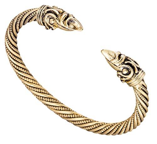 fishhook Animal Bracelet Viking Bracelet Pagan Crow Raven Head Screw Metal Cuff Bangle Wristband Bracelet Jewelry for Women Men Boys (Antique Gold)