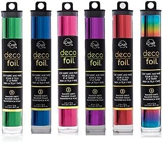 Deco Foil - Transfer Sheets - Green, Ocean Blue, Magenta, Purple, Red & Vibrant Rainbow - Bundle of SIX