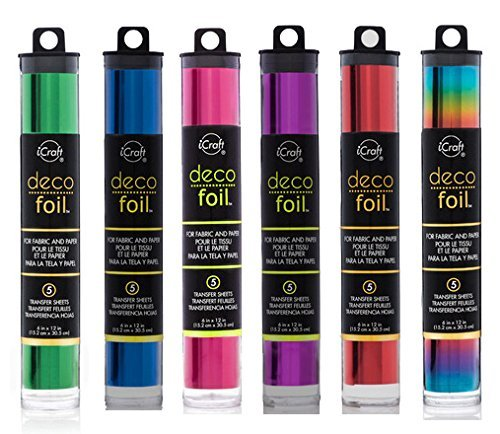 "Deco Foil - Transfer Sheets - Green, Ocean Blue, Magenta, Purple, Red & Vibrant Rainbow - Bundle of SIX ""Vibrant"" Colors"