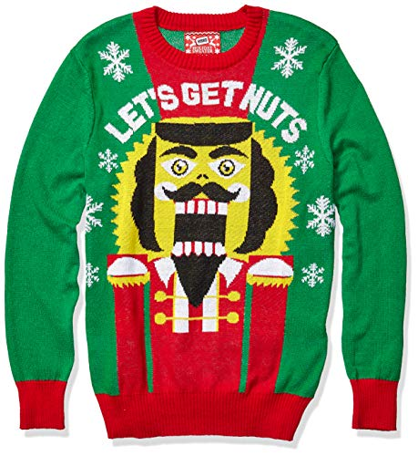 Hybrid Apparel Men's Ugly Christmas Sweater, Nutcracker/Green, Medium