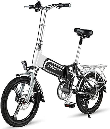 Bicicleta electrica Bicicleta eléctrica de 20 pulgadas, bicicleta plegable de cola suave para adultos, batería de litio 36V400W / 10AH, teléfono móvil USB / faros delanteros de la luz delantera, bicic