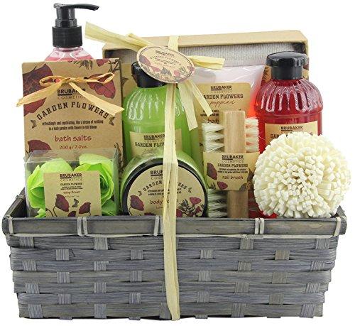 BRUBAKER Set da bagno e doccia 'Garden Flowers' incluso spazzolino per le unghie - con fragranze floreali di papavero - Set regalo 14 pezzi in un cestino di vimini