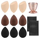 9PCS / Pack éponges de maquillage mélangeur fond de teint lisse éponge poudre bouffée, mélangeur éponge de beauté douce, sans Latex