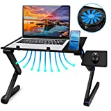 2021 Adjustable Laptop Bed Table Computer Stand, Laptop Notebook Stand Reading Holder with Large Cooling Fan & Mouse Pad for Bed Couch Office Sofa