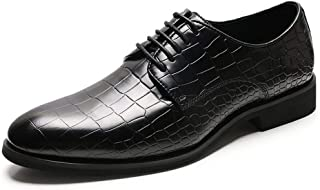 QinMei Zhou Formal Oxfords for Men Dress Shoes Lace up Genuine Leather Pointed Toe Texture Embossed Solid Color Platform Anti-Skid (Color : Black, Size : 8 UK)