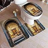 MTevocon Juego de alfombras de baño de 3 Piezas,Puerta típica marroquí a la Antigua Medina me, Almohadillas Antideslizantes Alfombrilla de baño + Contorno + Cubierta de Tapa de Inodoro Almohadilla