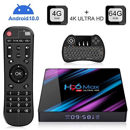 H96 MAX Android 10.0 TV Box with 4GB RAM 64GB ROM RK3318 Quad Core Procesador, Soporte 2.4/5.0GHz WiFi H.265 4K HDMI DLNA 4K Ultra HD con Mini Teclado Inalámbrico