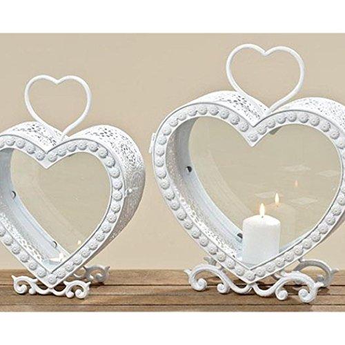 Laterne Herz weiß Windlicht zum Aufhängen Windlicht mit Ornamente Gartendeko Metall Hochzeit Taufe Geburtstag