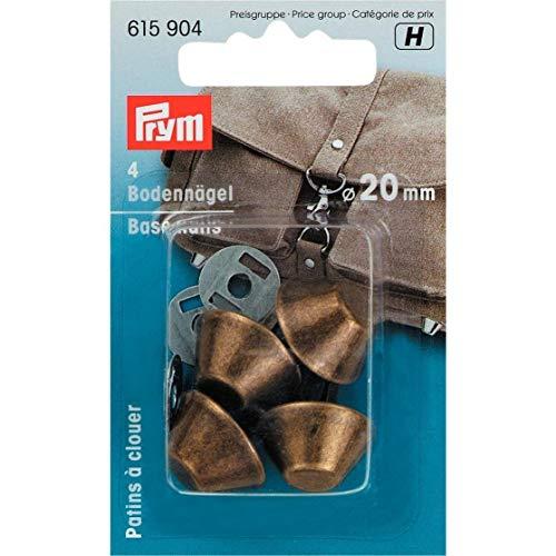 Prym Messingfarbene Bodennägel für Taschen mit 20 mm Durchmesser. 4 Stück, Metall, Messing antik-Optik, 9.5 x 6 x 2 cm