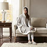 Comfort Spaces Glimmersoft Plush to Sherpa Pocket Hooded Angel Wrap Ultra Soft Wearable Poncho Blanket Throw, 58'x72', Grey