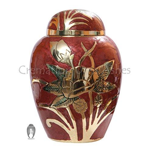 Urne funéraire pour animal de compagnie Motif fleurs en relief Rose/doré Medium 7 \