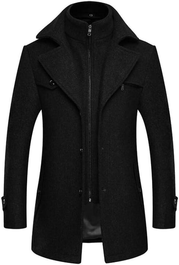 DAFREW Men Trench Coat Black Single Breasted Long Jacket Wool Blend Trench Coat Thin Slim Fit Winter Multicolor Formal Coat (Color : Black, Size : Large)
