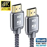 Cable HDMI 4K 2metros-Snowkids Cable HDMI 2.0 de Alta Velocidad Trenzado de Nailon 4K a 60Hz a 18Gbps Compatible con Fire TV, 3D, Función Ethernet, Video 4K UHD 2160p, HD 1080p-Xbox 360 PS3 PS4 - Gris