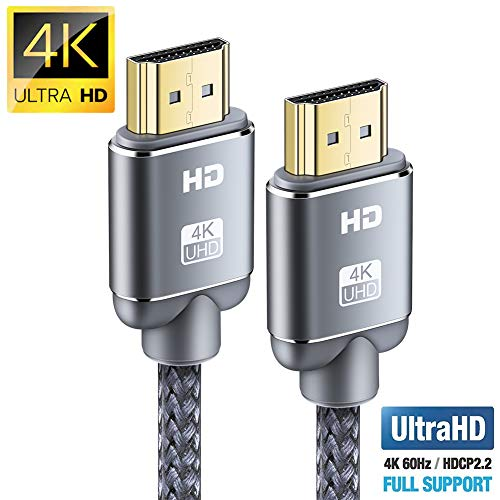 Cable HDMI 4K 2metros-Snowkids Cable HDMI 2.0 de Alta Velocidad Trenzado de Nailon 4K a 60Hz a 18Gbps Compatible con Fire TV, 3D, Función Ethernet, Video 4K UHD 2160p, HD 1080p-Xbox 360 PS3 PS4-Gris