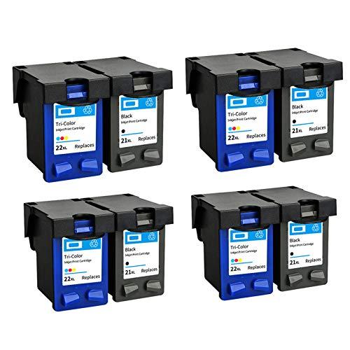 Cartuchos de tinta remanufacturados H-21XL 22XL de repuesto, para impresoras HP F2235 2180 2280 F370 (1 negro, 1 tricolor) 4 juegos