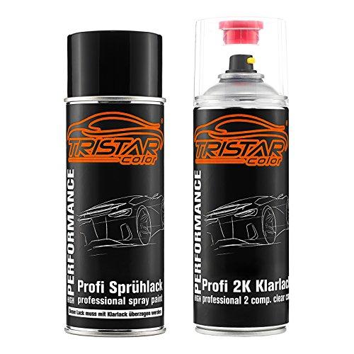 TRISTARcolor Autolack 2K Spraydosen Set für BMW 668 Glanzschwarz/Schwarz II Basislack 2 Komponenten Klarlack Sprühdose