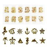 Princess-style 薄型 アート パーツ ゴールド ネイル&レジン用 マリンパーツ 12種類300枚セット (ケース入り)
