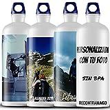 RecontraMago Botella de Agua de Acero Inoxidable Reutilizable - Personalizada con tu Foto BPA Free (Blanca, 600ML)