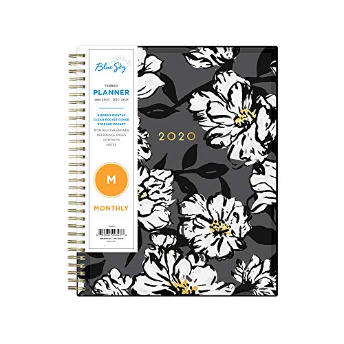 """Blue Sky 2021 Monthly Planner, Flexible Cover, Twin-Wire Binding, 8"""" x 10"""", Baccara Dark (110216-21)"""