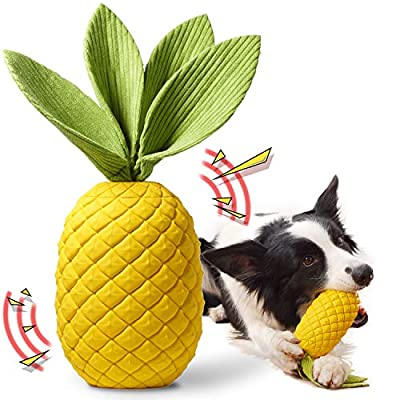 Rmolitty Dog Toys, Interactive Dog Chew Toys for Aggressive Chewers, Pineapple Super Durable Rubber Squeaky Toys for Large Medium Dogs (pineapple)