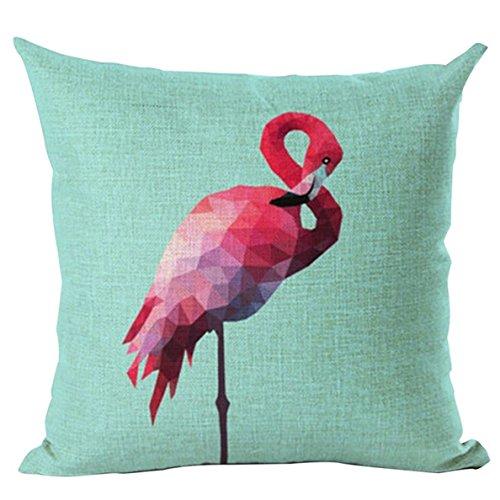 miyaia Flamingo lino y algodón funda de almohada de funda para cojín de sofá cama sofá decorativo funda de almohada, verde