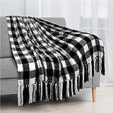 PAVILIA Buffalo Plaid Chenille Throw Blanket | Velvety Texture Tassel Fringe...
