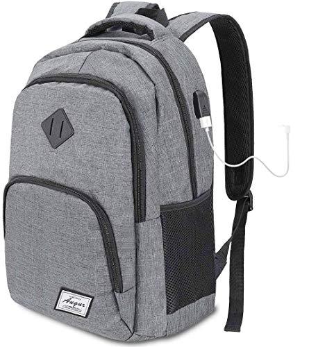 Limirror Laptop Rucksack Business Rucksack für 15.6 Zoll Laptop Schulrucksack mit USB Ladeanschluss für Arbeit Wandern Reisen Camping,für Herren,Oxford,20-35L (Grau)