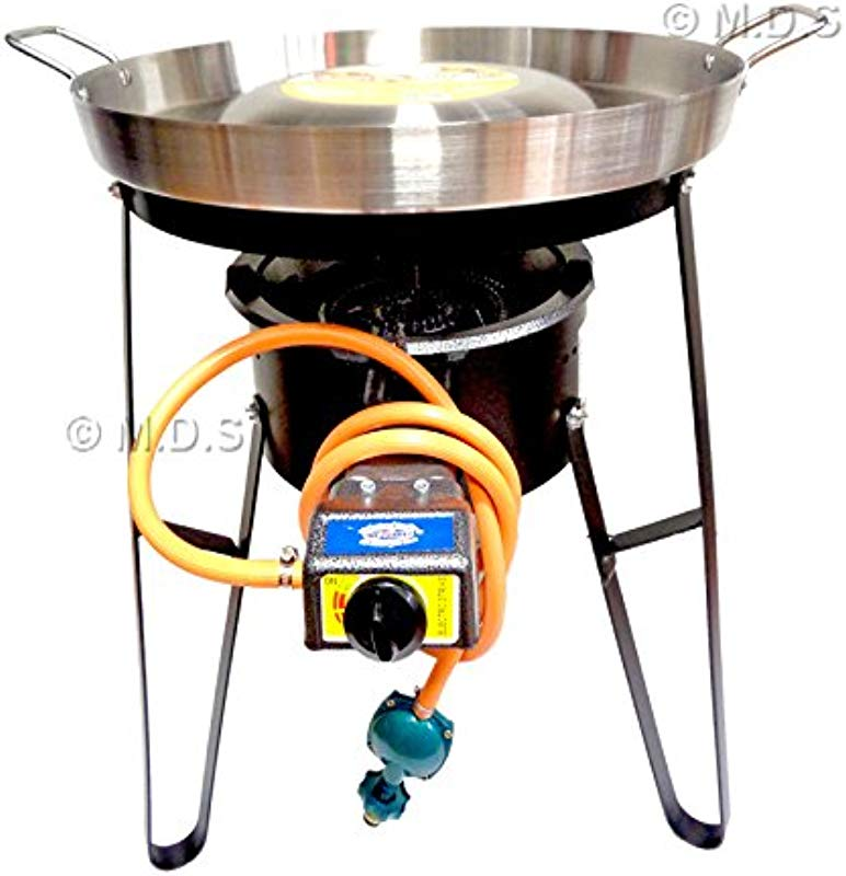 Comal Convex 21 With Burner Set Heavy Duty Metal Automatic Propane Gas Portable