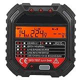 Probador de Enchufes HT107B con Pantalla LCD Prueba de Frecuencia Detector de Circuito Eléctrico Probador Eléctrico con Manual EE. UU. 90-250V Voltaje de Trabajo 90-250V 45-65HZ