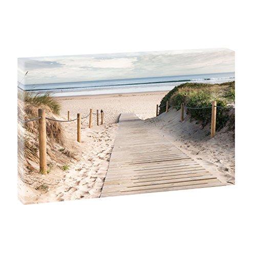 Querfarben Bild auf Leinwand mit Landschaftsmotiv Holzsteg ans Meer   100 x 65 cm, Farbig, Wandbild, Leinwandbild mit Kunstdruck, Nordseebild mit Strandmotiv auf Holzrahmen...