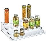mDesign Organizador de Especias – Práctico Soporte Organizador de armarios de plástico con 4 Niveles – Estantes especieros para Guardar condimentos y Otros Alimentos envasados – Transparente