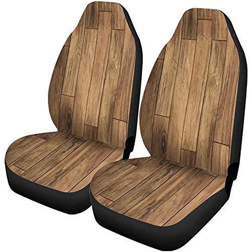 Auto Stoelhoezen Bruin Houten Parket Patroon Vloer Houten Plank Donker Eiken Set van 2 Beschermers Universele Fit voor Auto Truck SUV