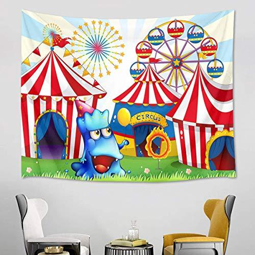 N\A Tapiz de Circo Rayas Carpas y Noria Tapices de Carnaval para Dormitorio Sala de Estar Dormitorio Decoración de Pared Niños Fiesta de cumpleaños Telón de Fondo