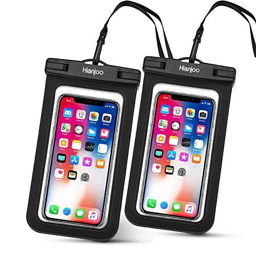 Hianjoo 2 Piezas Funda Móvil Impermeable Estuche IPX8 para Teléfono de 6,5 Pulgadas, Bolso Seco Bajo el Agua con Cordón Comaptible con iPhone 11 Pro XS X 8 7 6 Compatible con Redmi Note 9s 9 8