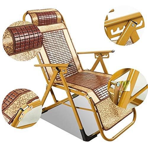 Sillas de jardín tumbonas y sillones reclinables amarillo bambú plegables de ratán sillón reclinable en mal tiempo for patio o la playa, Balcón, Parque O camping 4 Respaldo de ajuste de posición c322