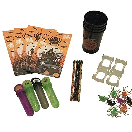Halloween treat bag bundle with four treat bags, four Halloween pencils, four black cups with a pumpkin, 4 bubble sticks, four plastic vampire teeth and 8 creature rings.