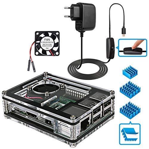 Miuzei Caja para Raspberry Pi 3,Carcasa para Raspberry Pi 3 Modelo B con Ventilador de refrigeración,disipadores térmicos y 5V 3A USB-C Cargador con Interruptor de Encendido/Apagado-no Incluye Placa