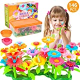 AOKIWO 146PCS Flower Garden Building Toys for Girls, STEM Toy Gardening Pretend Gift for Kids, Building Blocks Educational Creative Playset for Age 3,4,5,6,7 Year Old Pretend Gardening Gifts