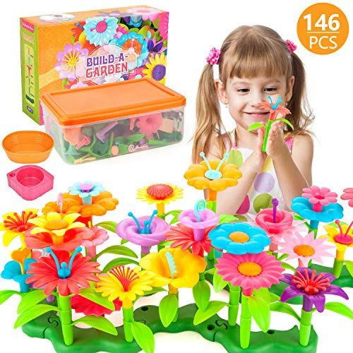 AOKIWO 146PCS Flower Garden Building Toys Set Flower Building Toy Educational Creative Playset for Age 34567 Year Old Gifts