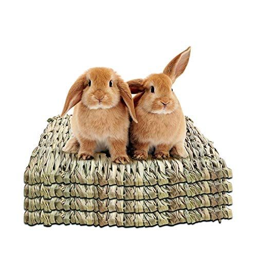 WUHOSTAM 11.81 x 11.81 Inches Grass Mat for Rabbits Natural Reed Hay Woven Bed Mat for Sleeping,...