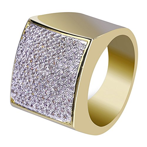 JINAO 18K Gold Iced Out Hip Hop Wedding Engagement Bling MICROPAVE CZ Square Pinky Mens Ring