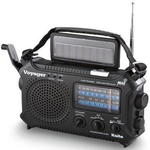 Kaito KA500 5-way Powered Emergency AM/FM/SW NOAA Weather Alert Radio with Solar,Dynamo Crank,Flashlight and Reading Lamp, Color Black
