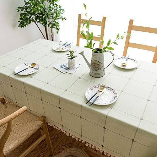 BH-JJSMGS Quadratische Gitter bestickte Tischdecke mit Fransen, einfarbige rechteckige Tischdecke aus Leinen CC 140 * 300 cm