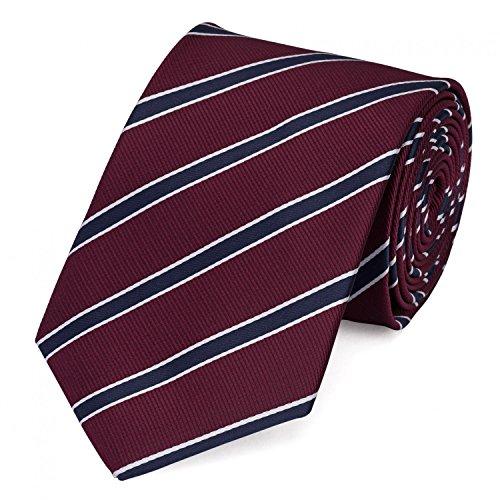 Fabio Farini - Elegante cravatta da uomo a strisce in 8cm di larghezza in diversi colori per ogni occasione come matrimonio, cresima, ballo di fine anno Rosso scuro Blu scuro Bianco