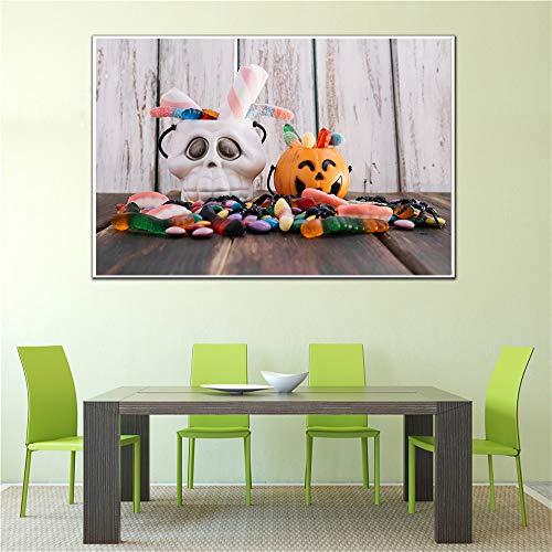 Happy Halloween Dekoration Brot Lebensmittel Malerei Kürbis Küche Wanddekoration Modernes Brot Poster (Ohne Rahmen) A3 60x80 CM
