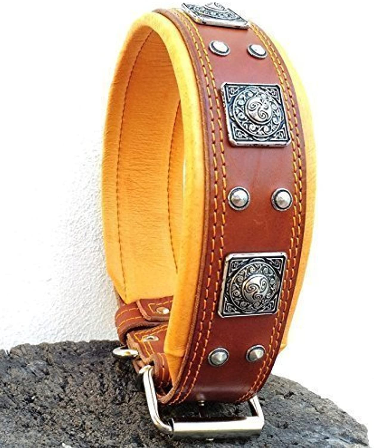 Bestia  EROS brown leather dog collar, Large breeds, cane corso, redtweiler, Boxer, Bullmastiff, Dogo, Quality dog collar, 100% leather, studded, M XXL size, 2.5 inch wide. padded. Made in Europe
